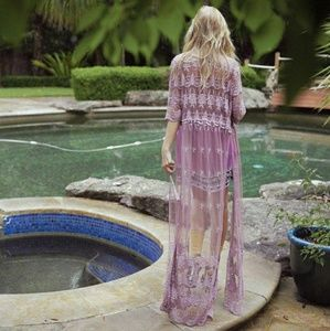 Arnhem arabella mauve lace duster dress S purple
